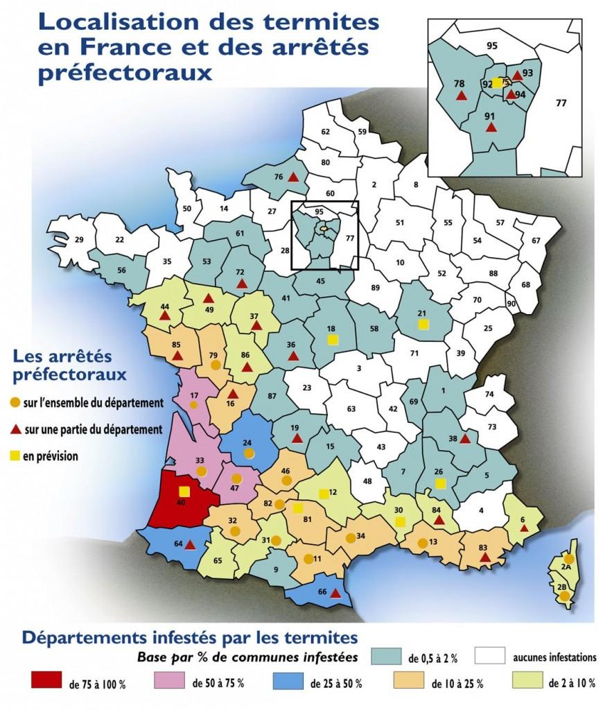Carte des termites en France
